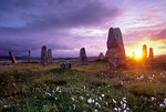 [BRITAIN.HEBRIDES 27685] ?Sunset at Callanish III?  On the shore of East Loch Roag, an estuary along the north coast of Lewis, you can find several neolithic stone circles. This one, ...