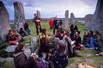 [BRITAIN.HEBRIDES 27678] ?Celebrating the summer solstice.?  On the Isle of Lewis the neolithic stone circle at Callanish has been called