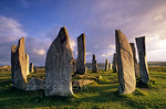 [BRITAIN.HEBRIDES 27670] ?Callanish stone circle.?  On the Isle of Lewis the standing stones of the neolithic stone circle at Callanish bask in the evening sun. The circle has a diam ...