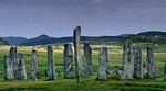 [BRITAIN.HEBRIDES 27675] ?Callanish seen from the east.?  The neolithic stone circle at Callanish was constructed around 2700 BC on the shore of East Loch Roag, an estuary along the  ...